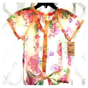 Little girls size 6/6X short sleeve flower shirt